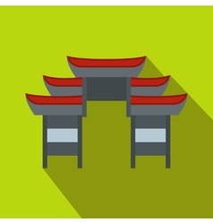Chinese temple icon flat style vector