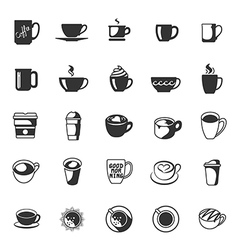 coffee cup collection icons set for cafe vector image