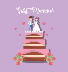 Couple married to cake decoration design vector