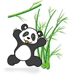Cute panda bear in bamboo forrest 05 vector