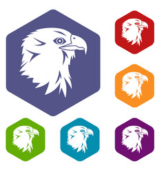 Eagle icons set vector