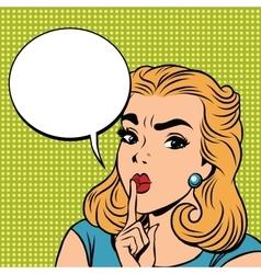 Emoji retro shhh silence girl emoticons vector