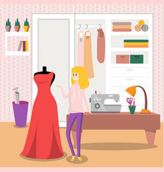 female dressmaker sewing elegant red dress for her vector image