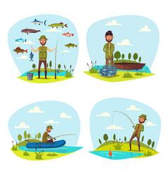 Fisher man fishing big fish catch vector