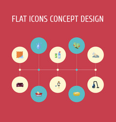 Flat icons means for cleaning washcloth sponge vector