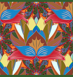 flowers on blue brown and red colors abstract vector image