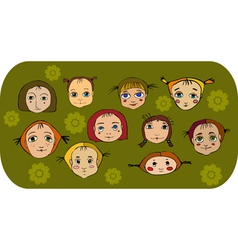 Girl Face Set vector image