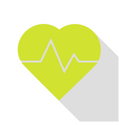 Heartbeat sign pear icon with flat vector