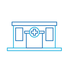 Hospital building medical center front view icon vector