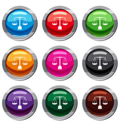 justice scale set 9 collection vector image