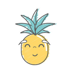 Kawaii cute happy pineapple vegetable vector