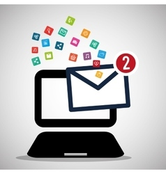 Laptop message email social media icons vector