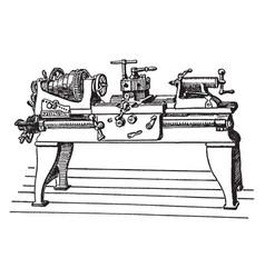 Large power lathe vintage vector