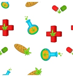 Medical marijuana pattern cartoon style vector image