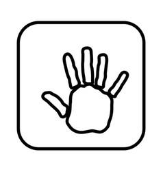 Monochrome contour square handprint icon vector