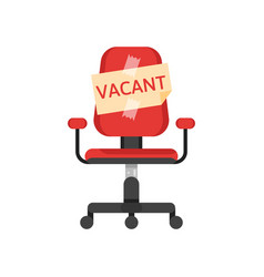 office chair with vacancy advertisement vector image