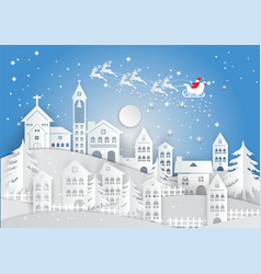 Paper art style winter holiday with home and vector