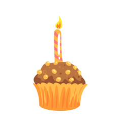 Party cupcake with burning candle cartoon vector