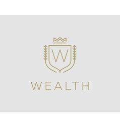 Premium monogram letter w initials ornate vector