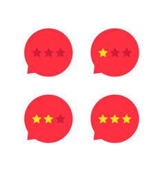 red rating stars icon set vector image
