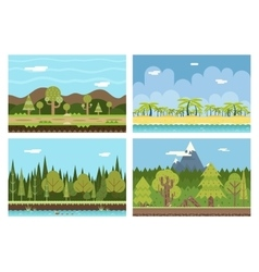 Road Beach Ocean Sea Wood River Mountain Nature vector image vector image