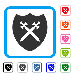 security shield framed icon vector image vector image