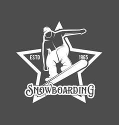 set of snowboarding badges vector image