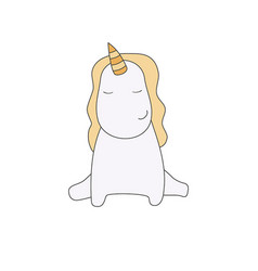 sitting unicorn on white background sitting vector image