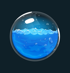 Sphere of water game icon of magic orb interface vector