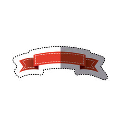 sticker red ornament ribbon decorative tape vector image