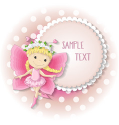 Sweet butterfly girl in a pink dress vector