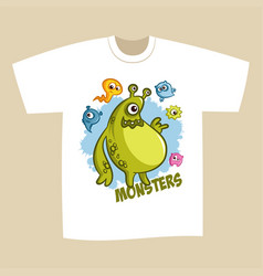t-shirt print design cartoon cute monsters vector image