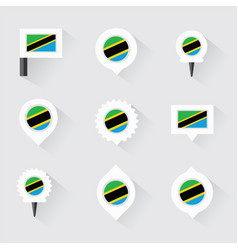 Tanzania flag and pins for infographic and map vector