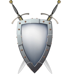 Two crossed swords that are behind the shield vector image