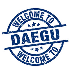 Welcome to daegu blue stamp vector