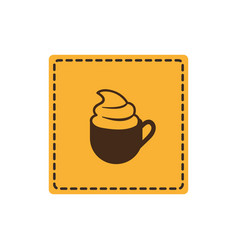 Yellow emblem cup coffee with cream icon vector