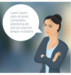 young business woman with speech comment bubble vector image vector image
