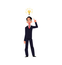 young businessman having idea lightbulb as symbol vector image vector image