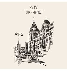 Original digital sketch of kyiv ukraine town vector
