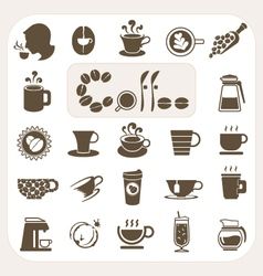 Coffee collection icons set vector
