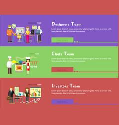 Investors people designers team chefs group vector