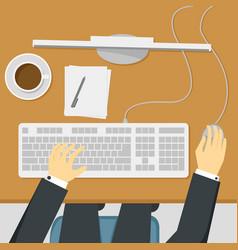 Businessman working on desktop computer vector