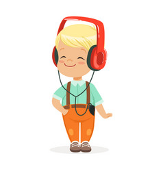 Smiling little boy listening to music in vector