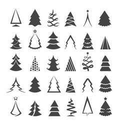 simple christmas tree icons vector image