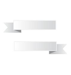 gray ribbon banner on white background white vector image