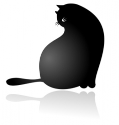 Fat cat sitting vector
