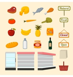 Collection of supermarket food items vector