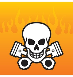 Skull and pistons with flame background vector