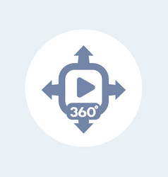 360 degrees video content icon vector