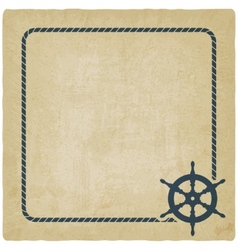 Marine background with steering wheel vector